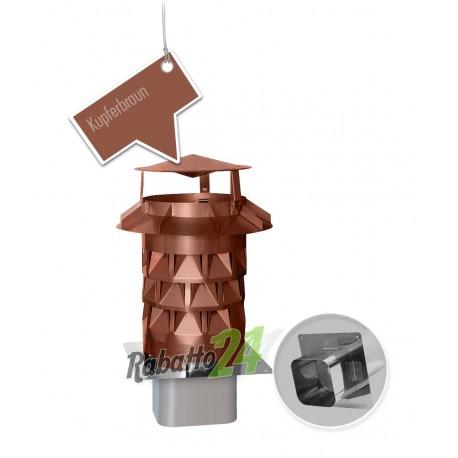 Schornsteinaufsatz Edelstahl Einschub rund eckig (Plewa) Kupferbraun