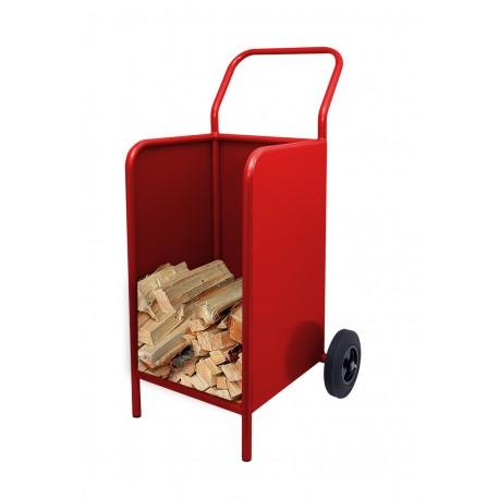 Kaminholzwagen Brennholzwagen Holzkorb Rot
