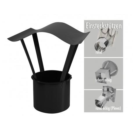 Schornsteinabdeckung Wellendach Edelstahl Einschub rund Schwarz