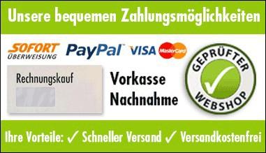 Unsere bequemen Zahlungsmöglichkeiten | Geprüfter Webshop
